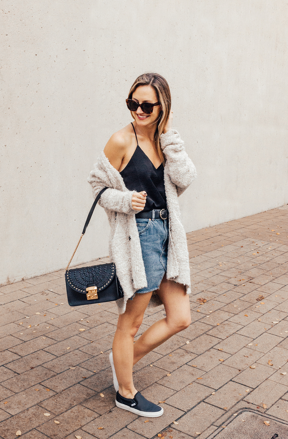 livvyland-blog-olivia-watson-denim-skirt-silk-cami-furla-black-handbag-vans-slip-on-sneakers-7