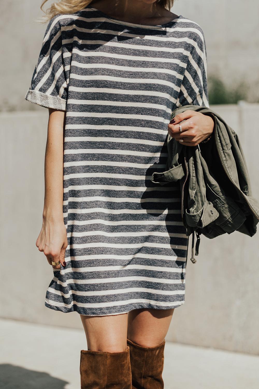 Striped Dress Amp Otk Boots Livvyland Austin Fashion And