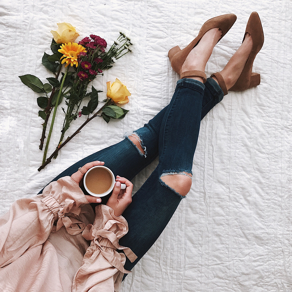 livvyland-blog-olivia-watson-instagram-roundup-livvylandblog-cozy-chic-boho-outfit-idea-blush-satin-top-block-heels