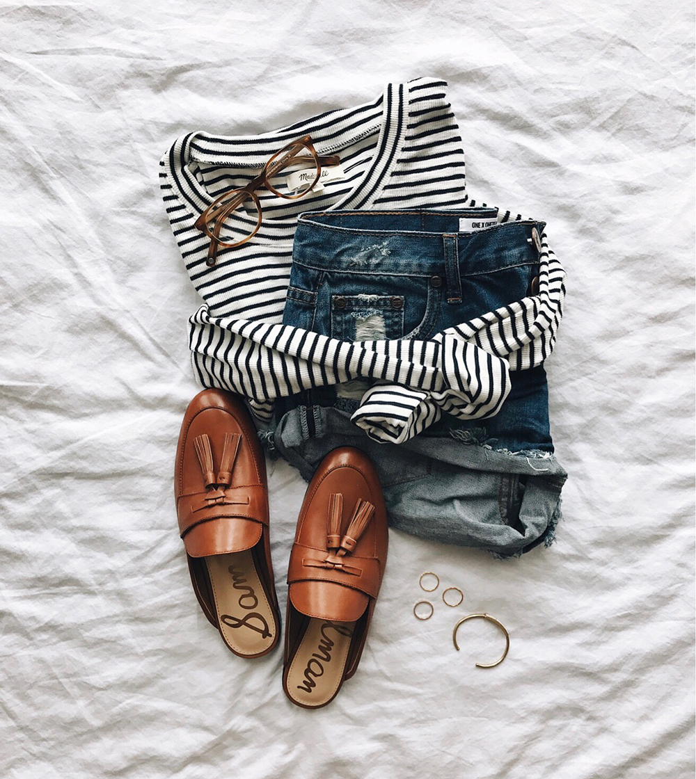 livvyland-blog-olivia-watson-instagram-roundup-livvylandblog-cozy-chic-boho-outfit-idea-loafer-slides-one-teaspoon-bandit-shorts-striped-top