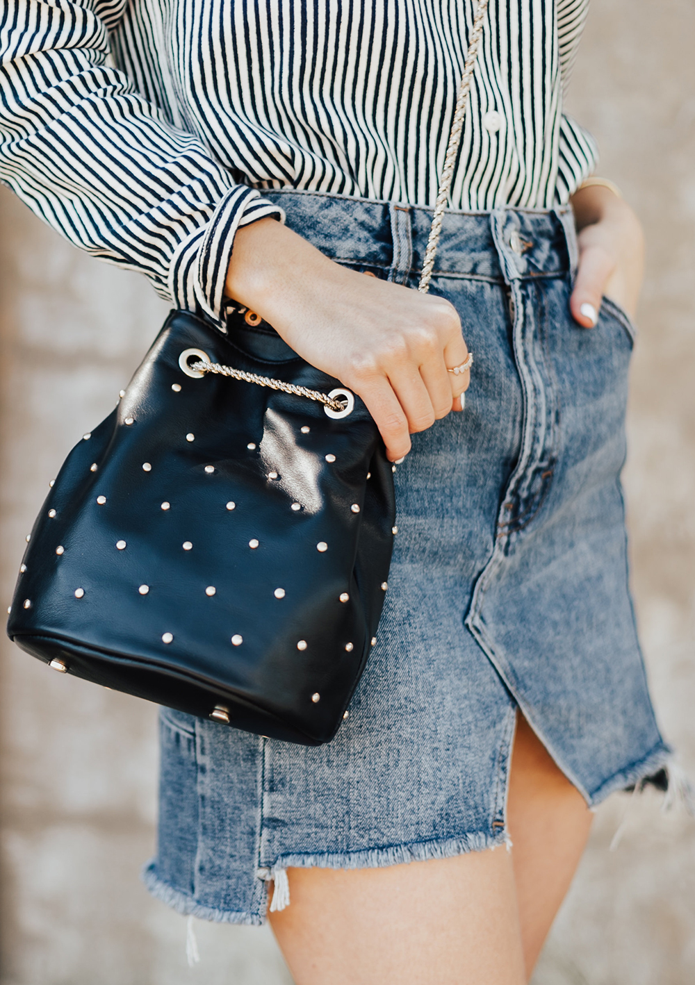 6e062ab5d0 Studded Bucket Bag - LivvyLand | Austin Fashion and Style Blogger