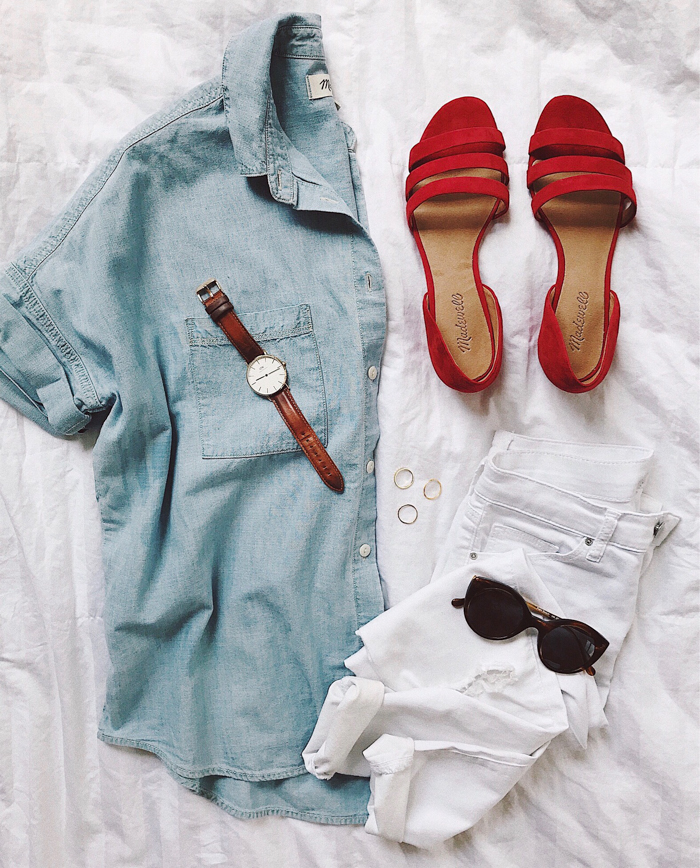 livvyland-blog-olivia-watson-flat-lay-outfit-boho-summer-neutral-madewell-poppy-red-flats-cat-eye-sunglasses