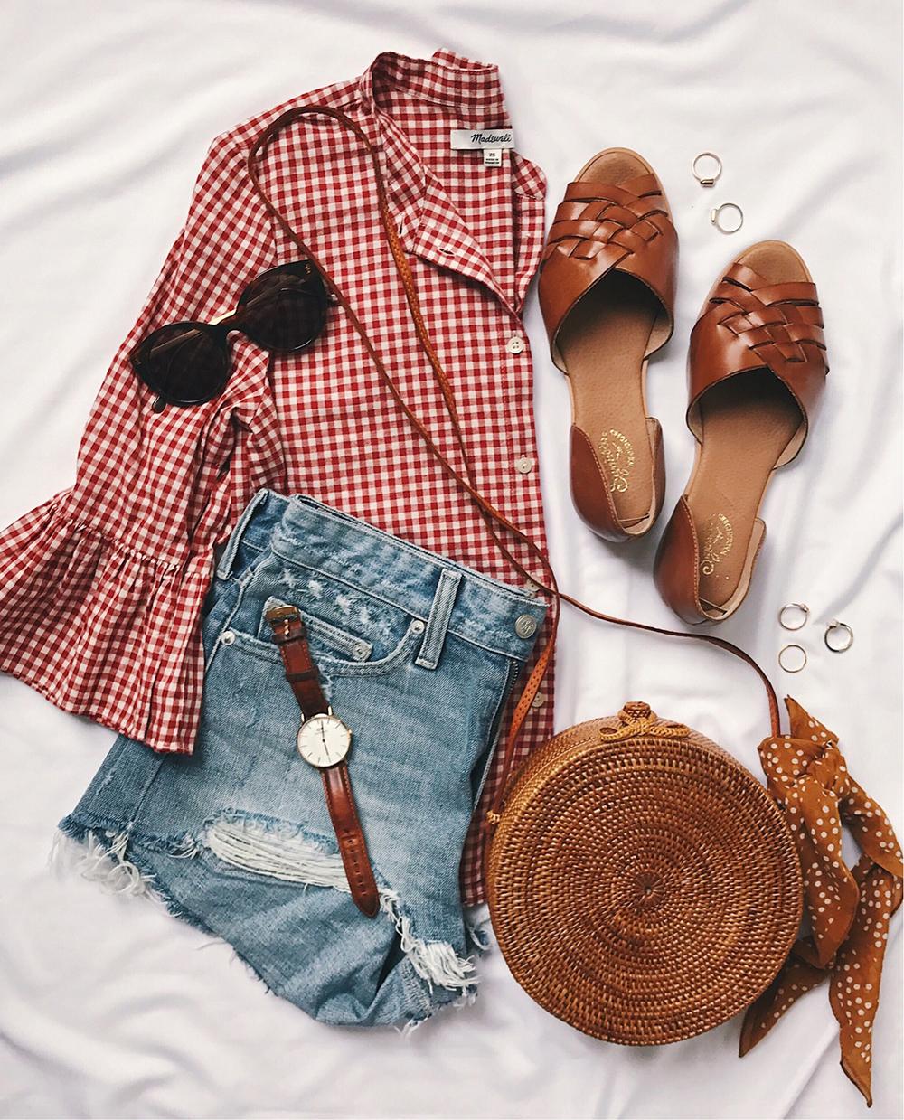 livvyland-blog-best-button-up-shirts-gingham-madewell-circle-wicker-straw-bag-1