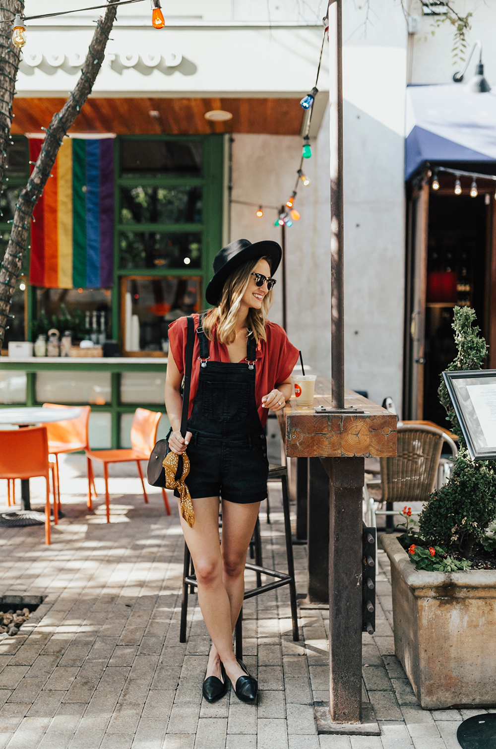 livvyland-blog-olivia-watson-black-short-overalls-abercrombie-everlane-black-pointed-toe-flats-summer-outfit-jos-coffee-second-street-austin-texas-fashion-blogger-1