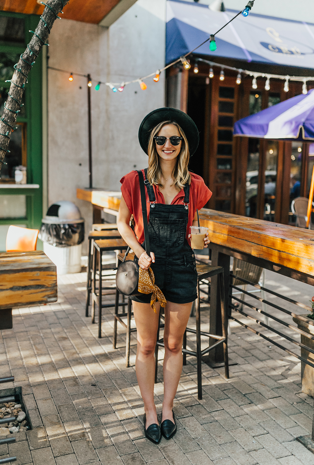 livvyland-blog-olivia-watson-black-short-overalls-abercrombie-everlane-black-pointed-toe-flats-summer-outfit-jos-coffee-second-street-austin-texas-fashion-blogger-6