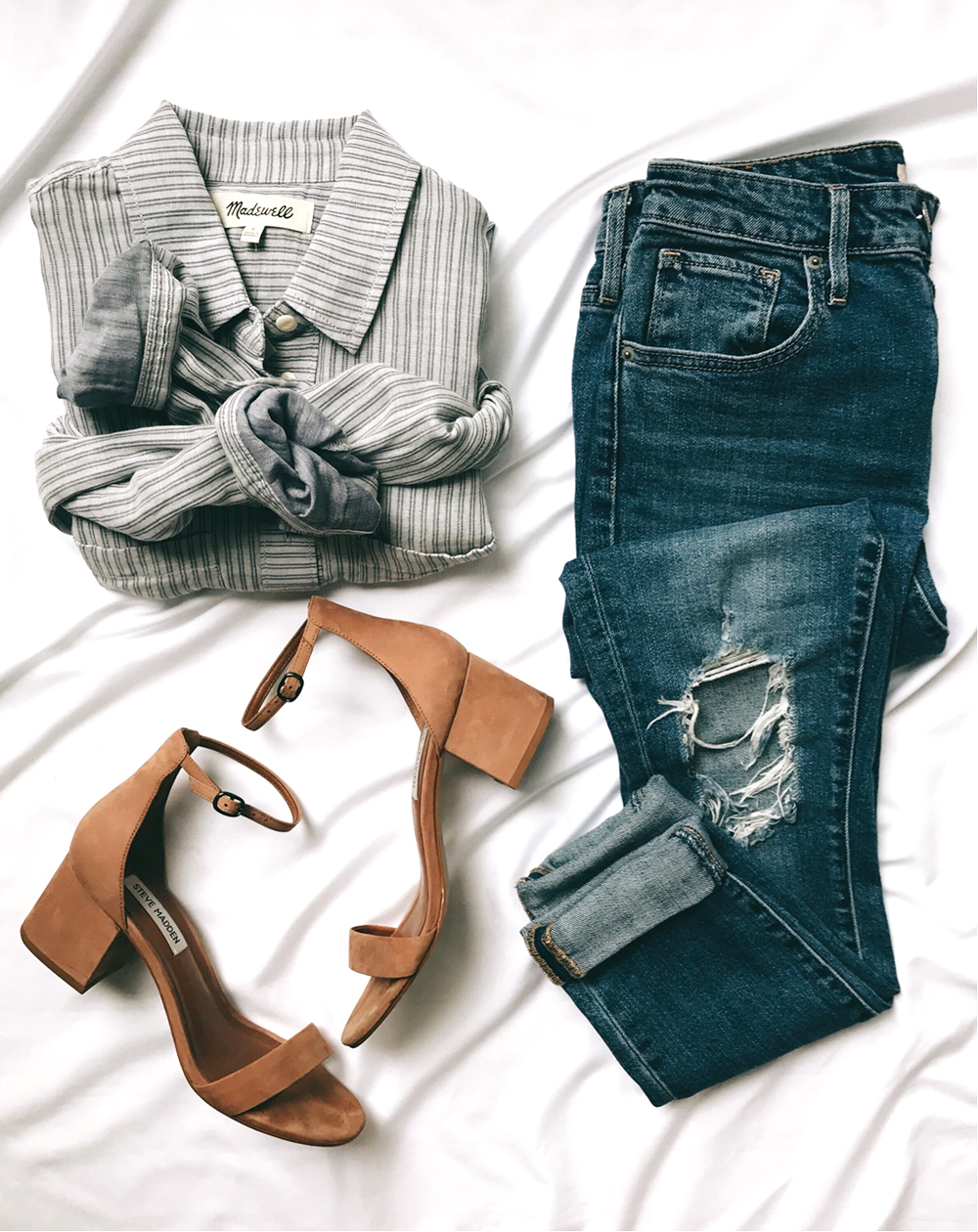 livvyland-blog-olivia-watson-flat-lay-nude-block-heels-distressed-jeans-striped-button-up-casual-chic-outfit