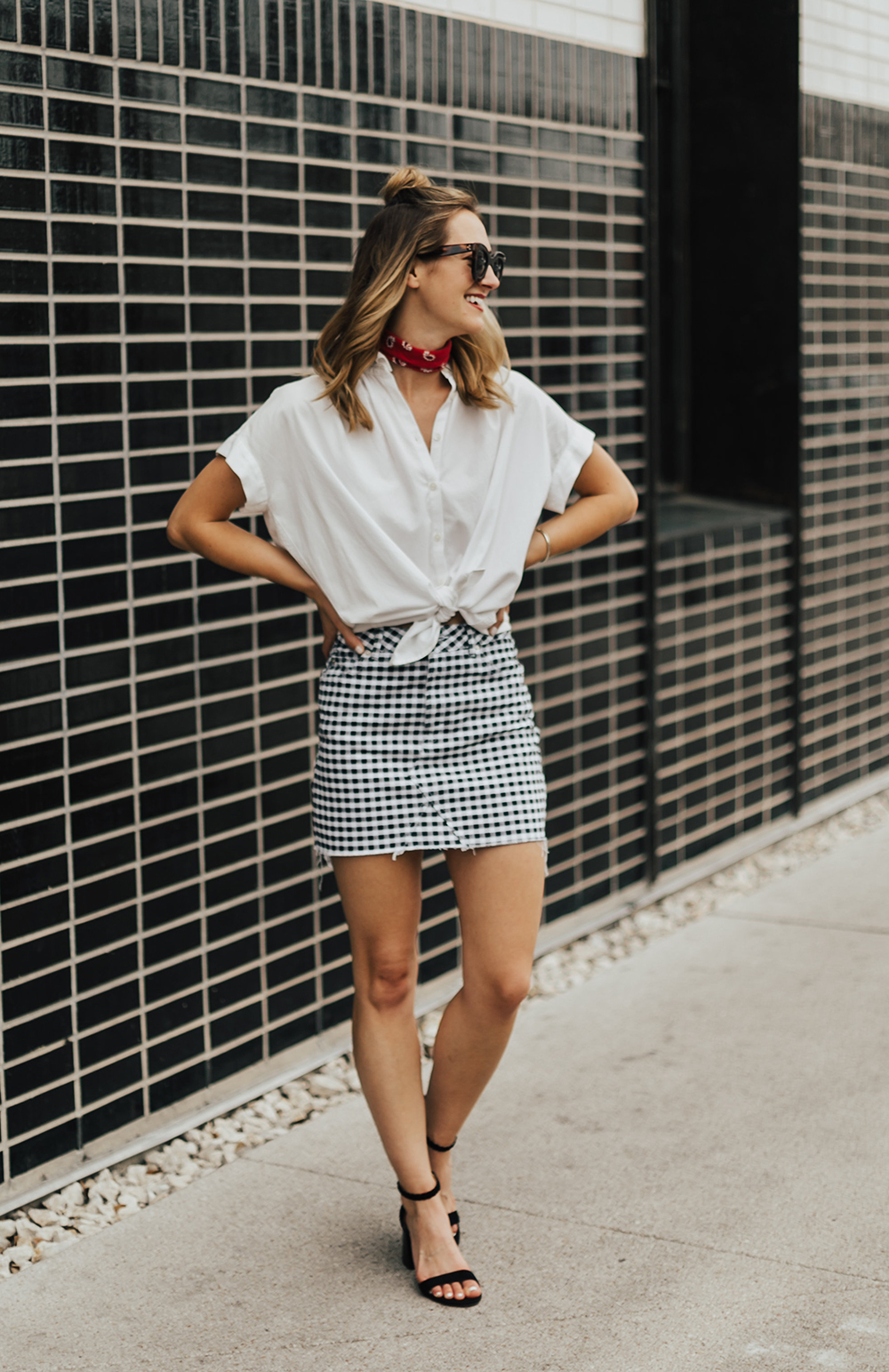 ec264c7a19e18 Gingham Mini Skirt - LivvyLand | Austin Fashion and Style Blogger