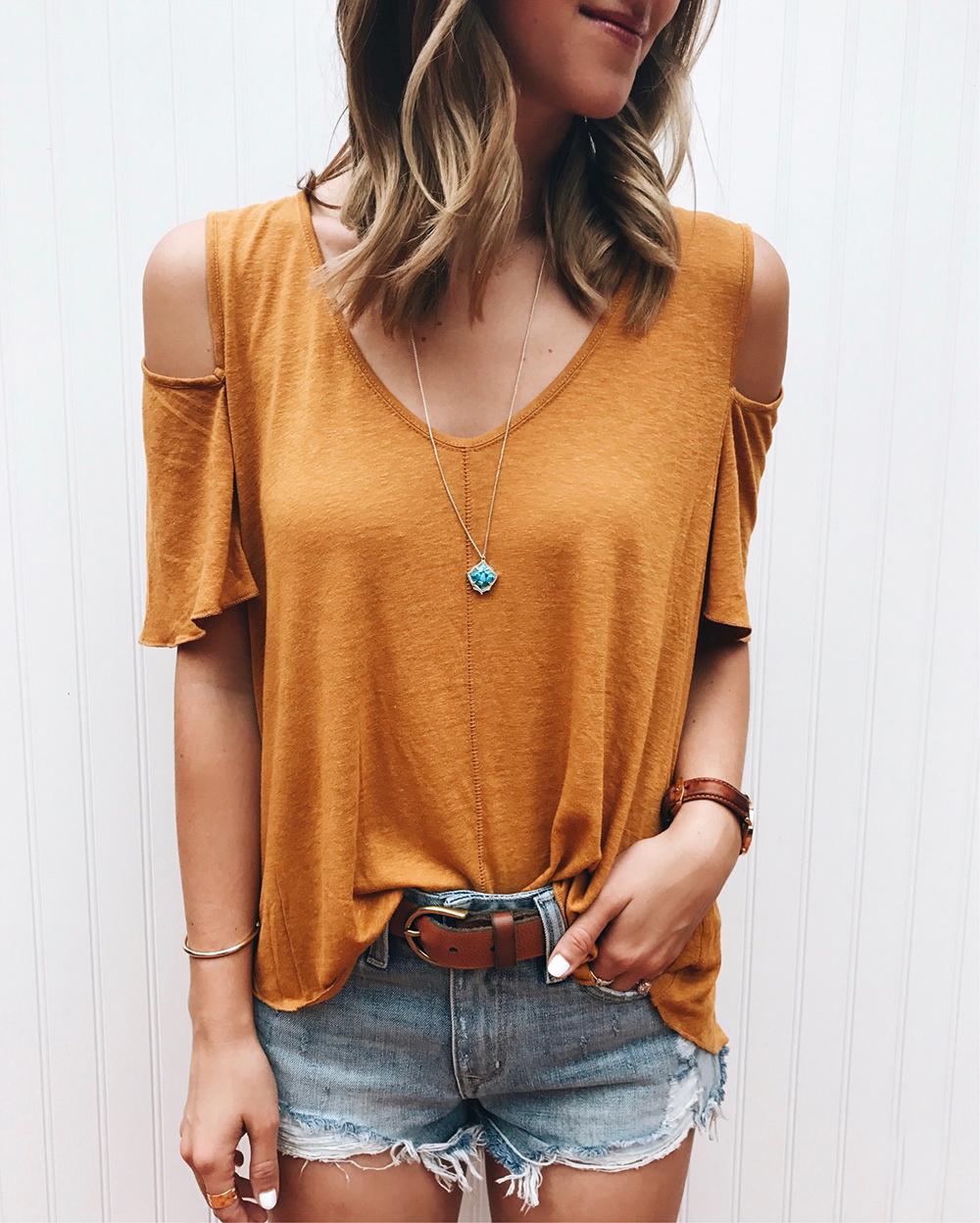 livvyland-blog-olivia-watson-instagram-roundup-june-summer-style-free-people-mustard-top-grlfrnd-shorts