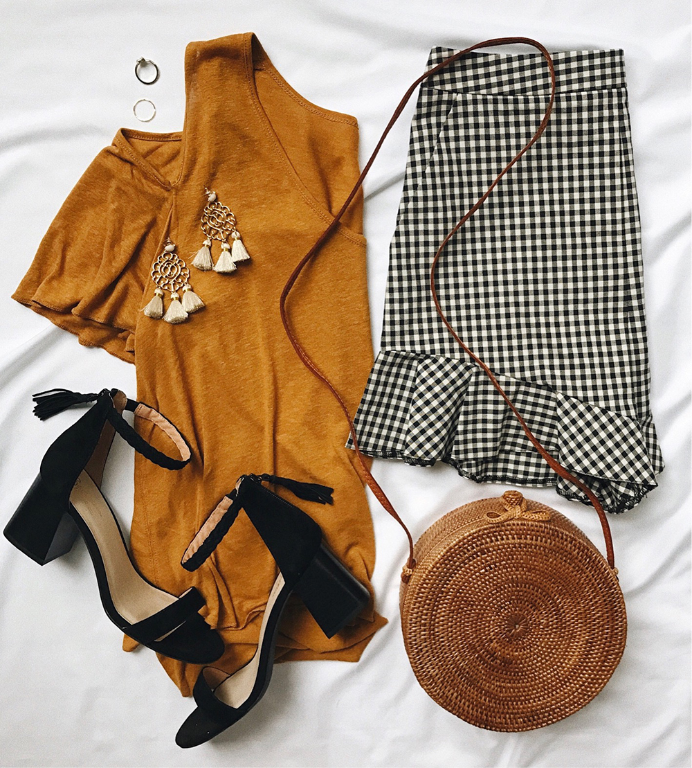 livvyland-blog-olivia-watson-instagram-roundup-june-summer-style-gingham-shorts-mustard-top