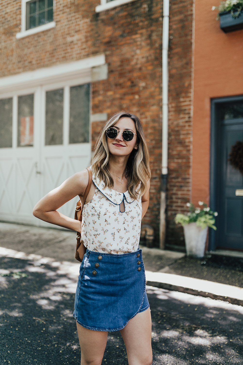 livvyland-blog-olivia-watson-new-york-city-cobble-hill-brooklyn-modcloth-skort-peter-pan-collar-top-vans-classic-sneakers-summer-outfit-11