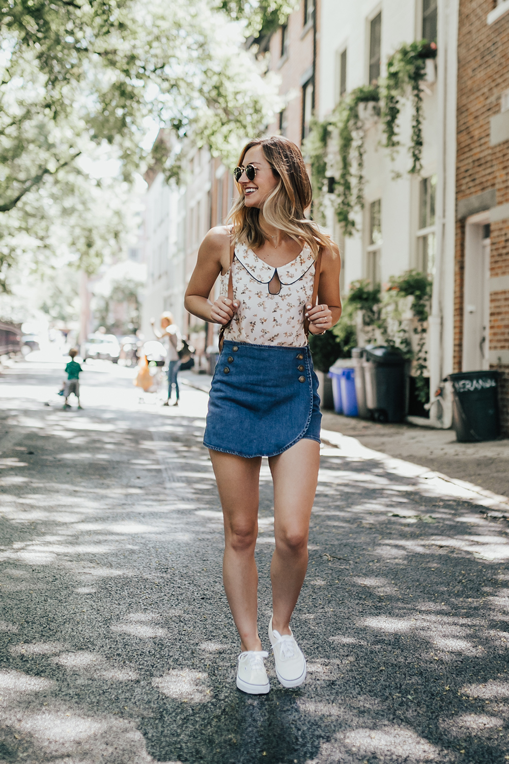 livvyland-blog-olivia-watson-new-york-city-cobble-hill-brooklyn-modcloth-skort-peter-pan-collar-top-vans-classic-sneakers-summer-outfit-13