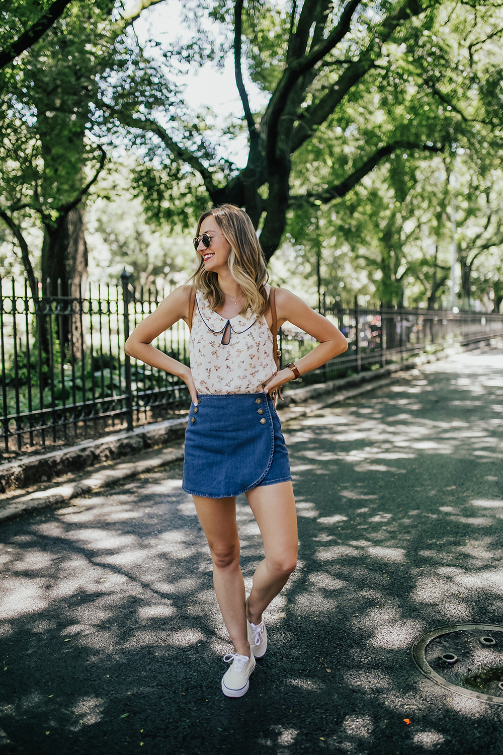 livvyland-blog-olivia-watson-new-york-city-cobble-hill-brooklyn-modcloth-skort-peter-pan-collar-top-vans-classic-sneakers-summer-outfit-3
