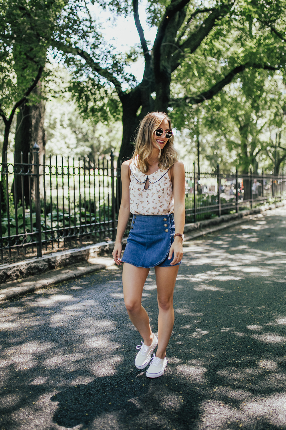 livvyland-blog-olivia-watson-new-york-city-cobble-hill-brooklyn-modcloth-skort-peter-pan-collar-top-vans-classic-sneakers-summer-outfit-6
