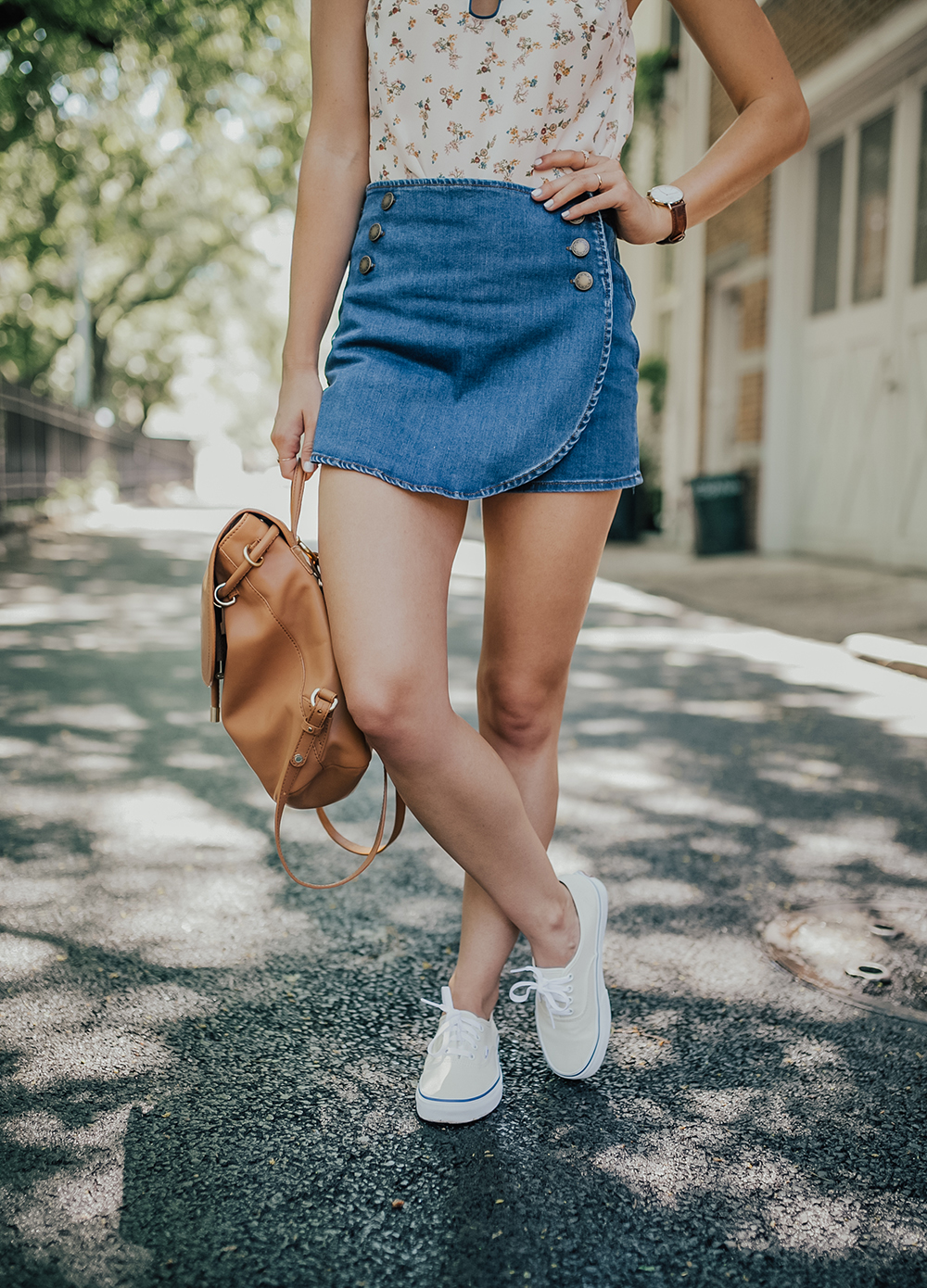 livvyland-blog-olivia-watson-new-york-city-cobble-hill-brooklyn-modcloth-skort-peter-pan-collar-top-vans-classic-sneakers-summer-outfit-7