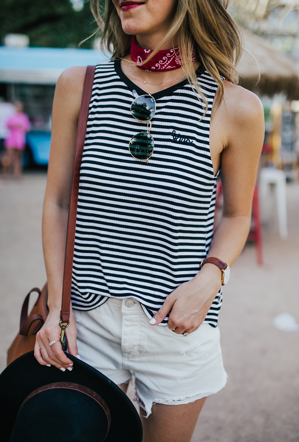 livvyland-blog-olivia-watson-stripe-vans-tank-top-white-cutoff-shorts-pacsun-barton-springs-road-summer-style-2