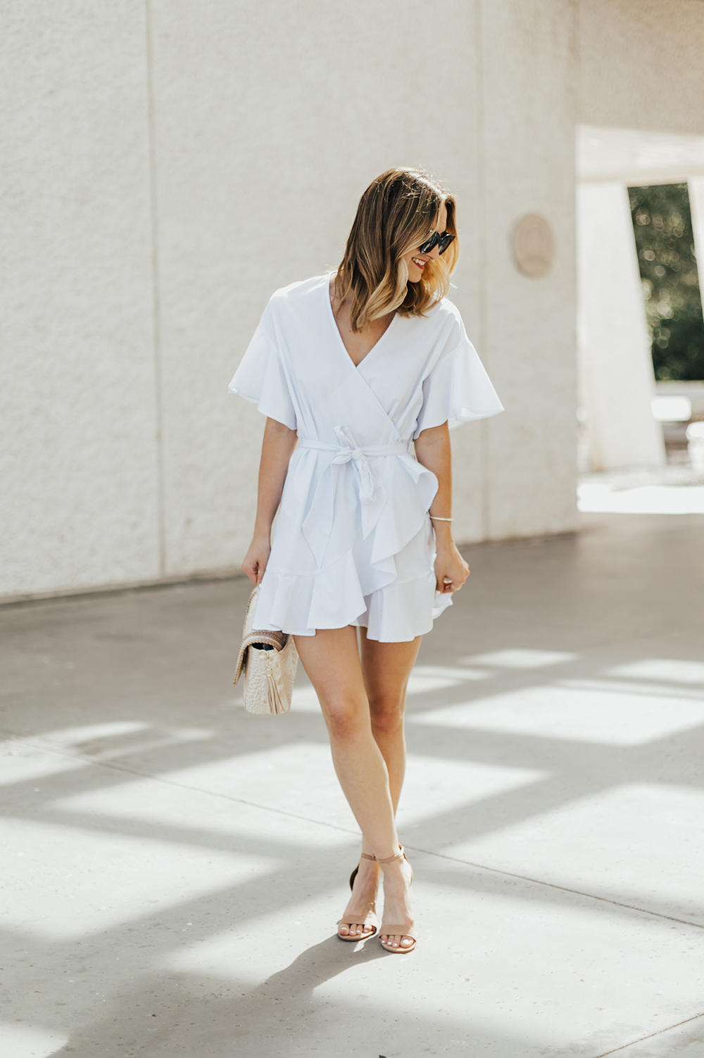 Dainty Ruffle Wrap Dress - Livvyland  Austin Fashion And Style Blogger-6398