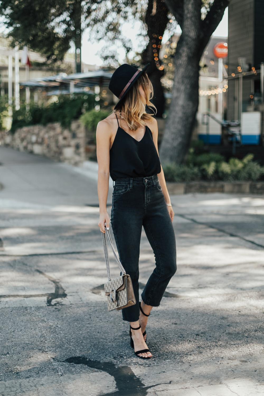 9dd613daf5a37 Black Cami Top   Cropped High Rise Jeans - LivvyLand