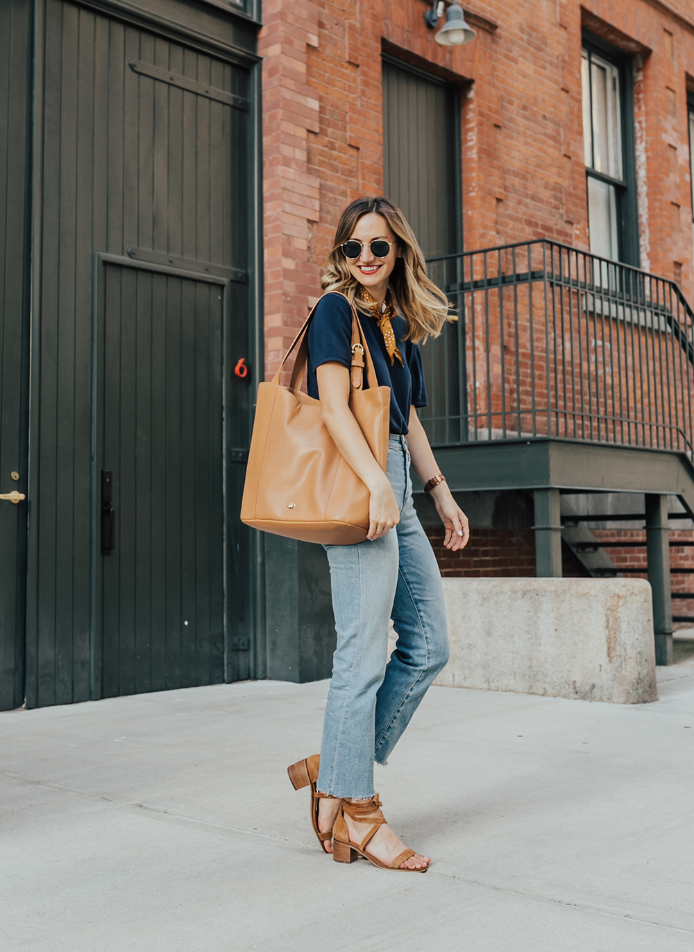 livvyland-blog-olivia-watson-nyc-tribeca-mom-jeans-brahmin-tan-charleston-tote-neckerchief-1