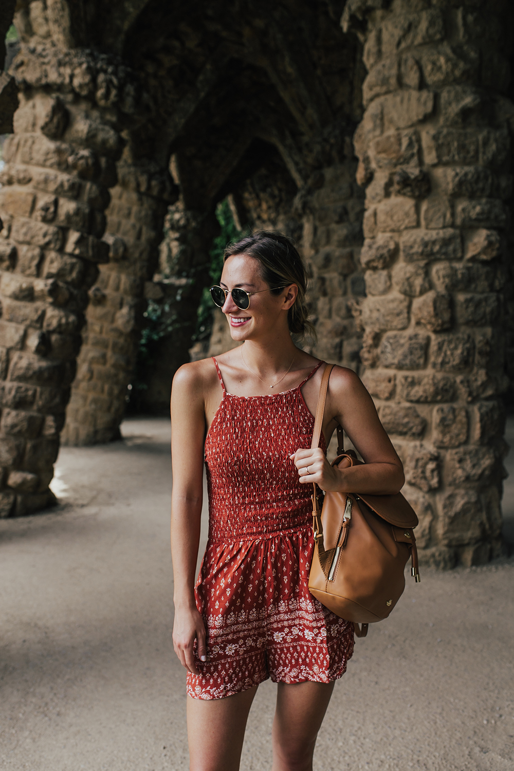 livvyland-blog-olivia-watson-travel-fashion-blogger-barcelona-costa-brava-spain-friends-trip-air-bnb-park-gruell-romper-travel-backpack
