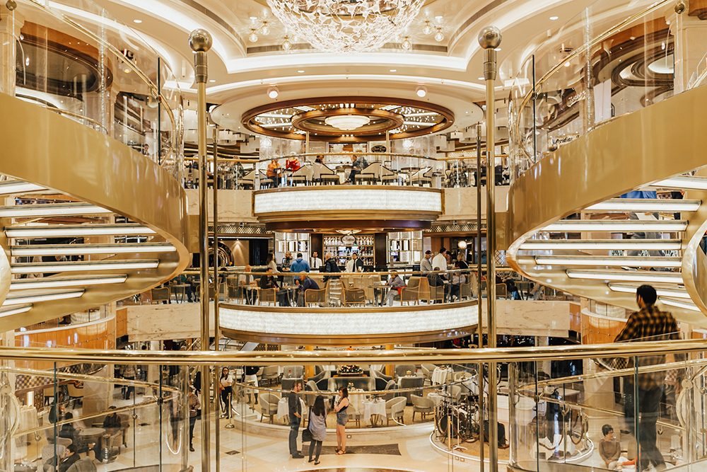 livvyland-blog-olivia-watson-travel-fashion-blogger-princess-cruises-regal-ship-what-to-do-on-board-cruise-boat-foyer-spiral-staircase