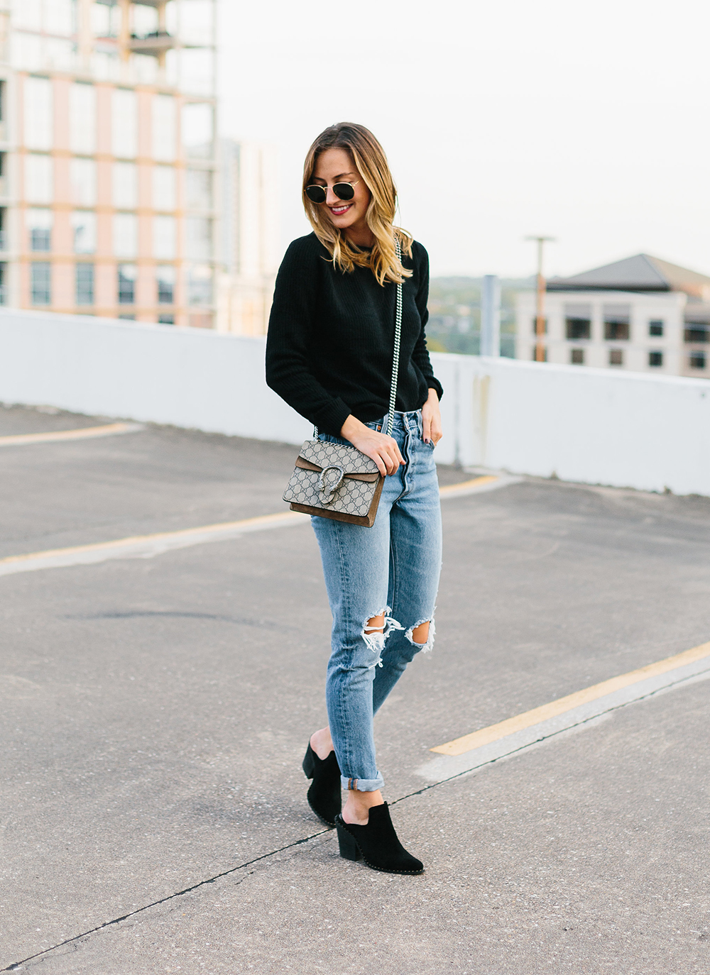 9456fc7eb Black Mule Booties - LivvyLand | Austin Fashion and Style Blogger
