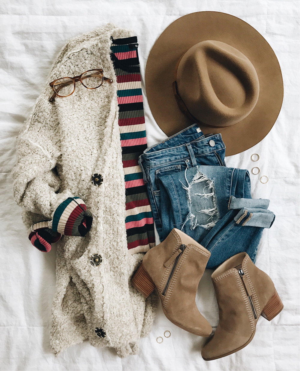 livvyland-blog-olivia-watson-fall-outfit-bohemian-striped-colorful-long-sleeve-brixton-fedora-hat-taupe-ankle-booties