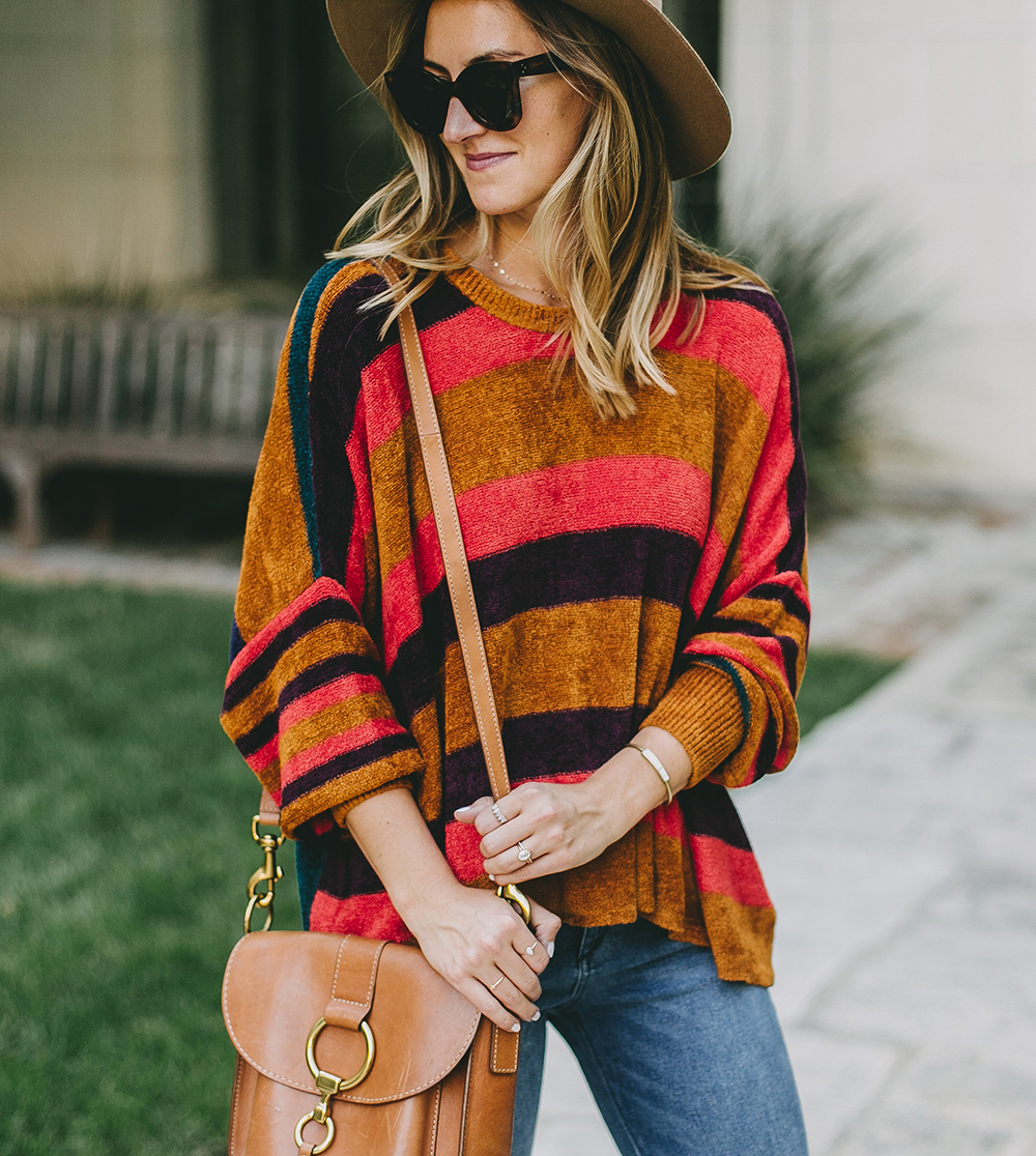 livvyland-blog-olivia-watson-fall-outfit-free-people-striped-cozy-oversize-sweater-colorfu
