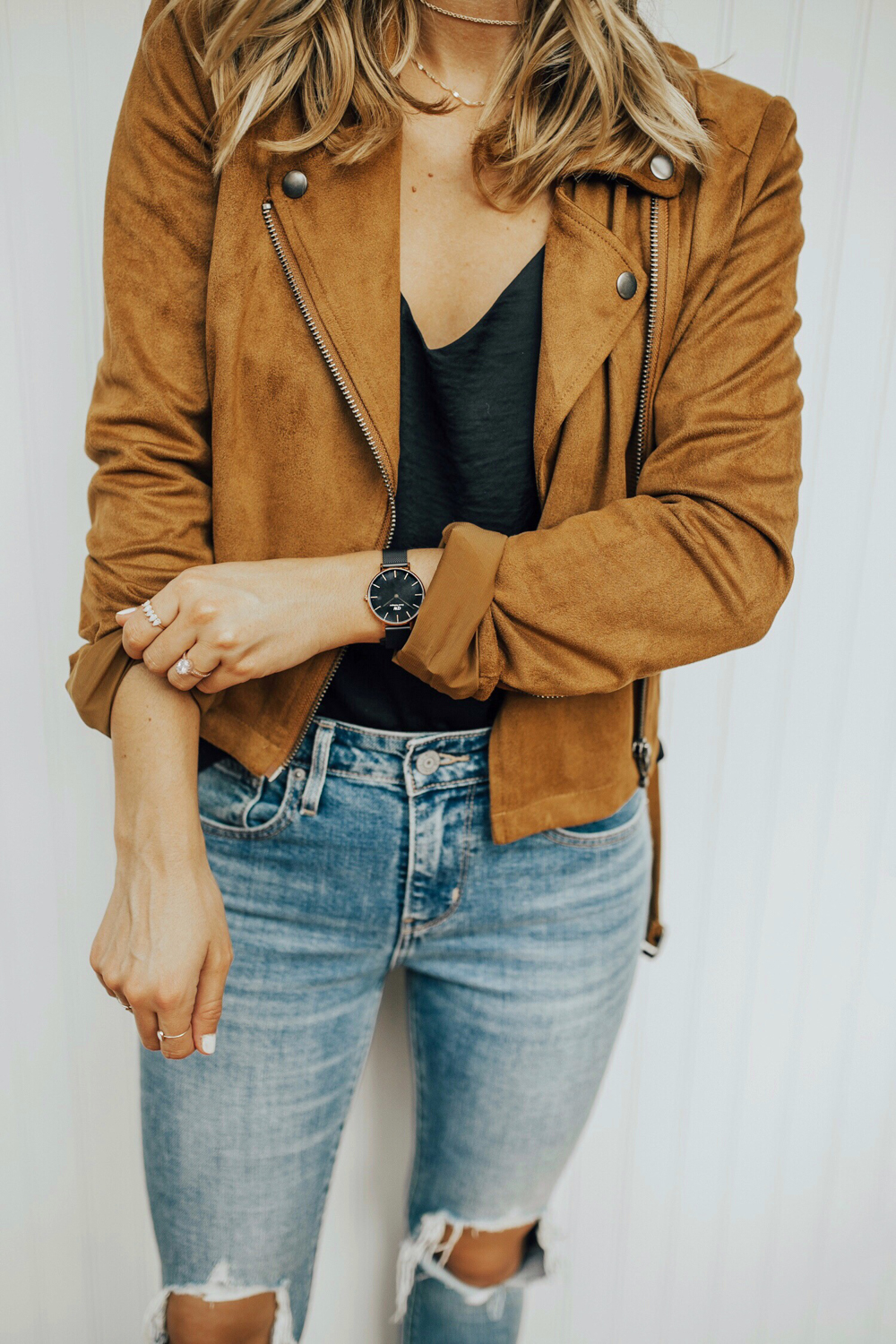 livvyland-blog-olivia-watson-fall-outfit-idea-camel-suede-moto-jacket-black-silk-satin-cami