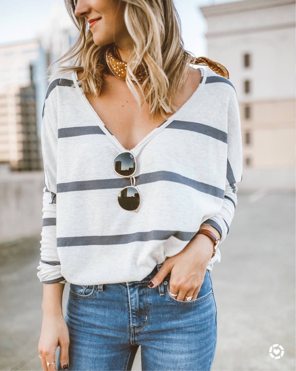 livvyland-blog-olivia-watson-fall-outfit-idea-free-people-striped-shirt-bohemian-neck-scarf