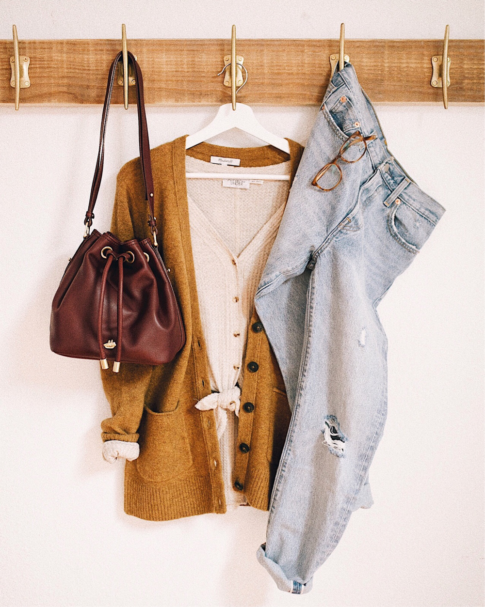 livvyland-blog-olivia-watson-fall-outfit-idea-grandpa-cardigan-thermal-top-levis-501-jeans-brahmin-handbag