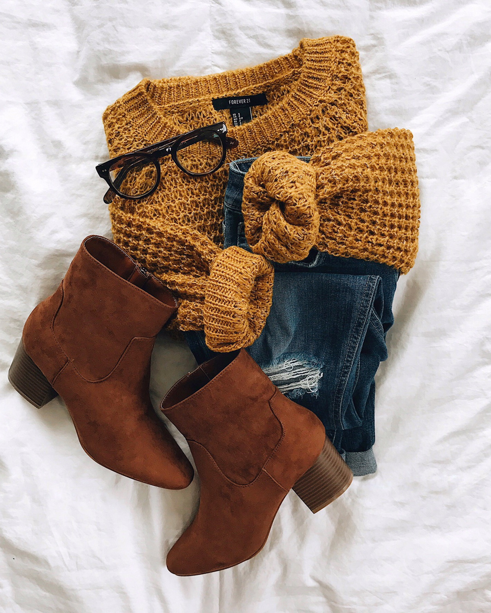 livvyland-blog-olivia-watson-fall-outfit-idea-mustard-knit-sweater-brown-mid-calf-booties-forever21-dl1961-jeans