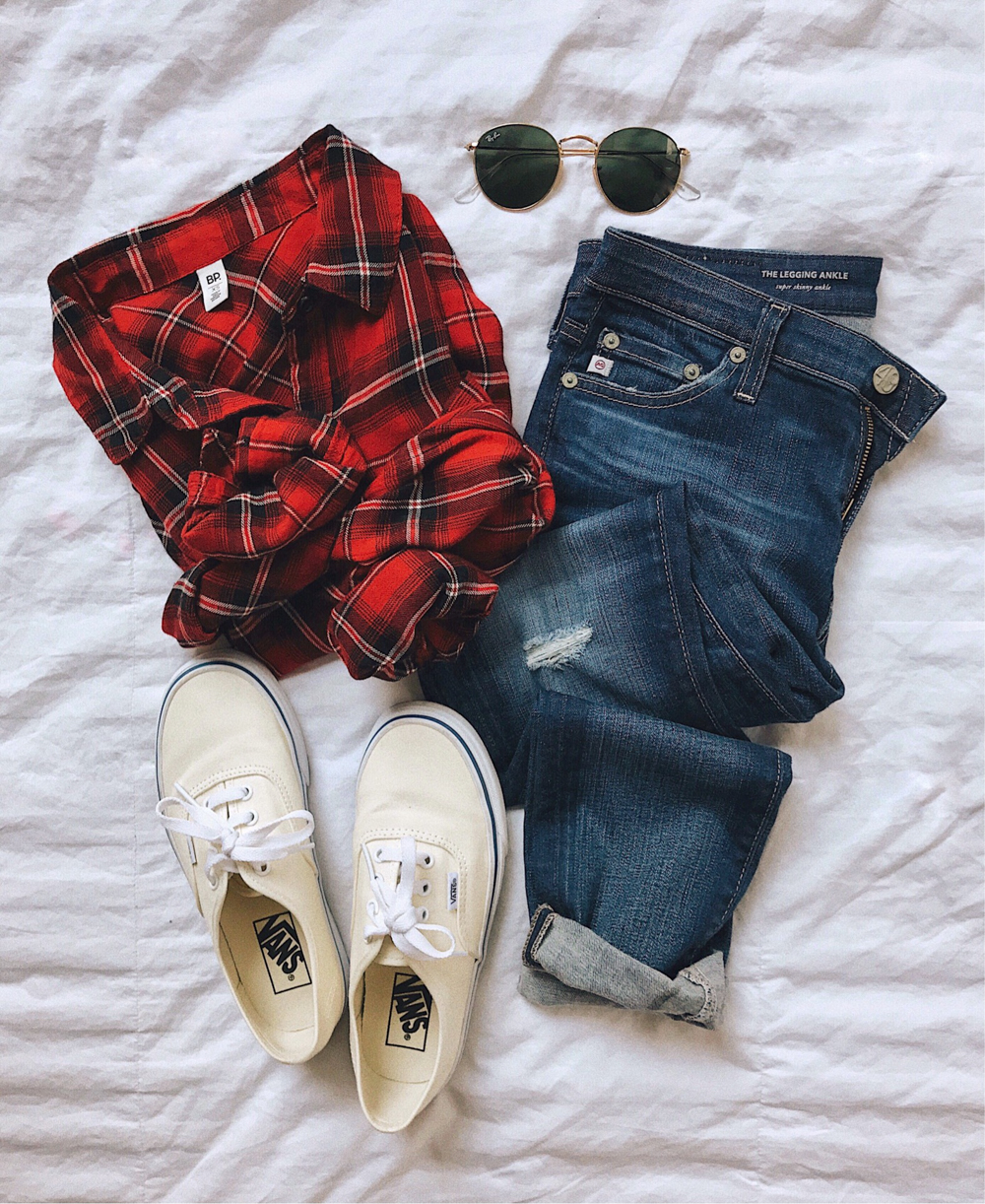 livvyland-blog-olivia-watson-fall-outfit-plaid-button-up-top-vans-sneakers-ag-denim