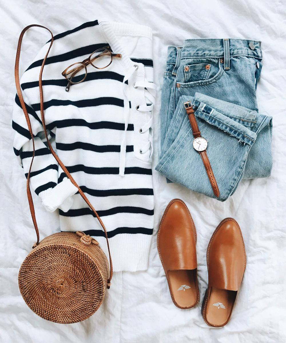 livvyland-blog-olivia-watson-fall-outfit-striped-nautical-sweater-tan-slides-rattan-bag