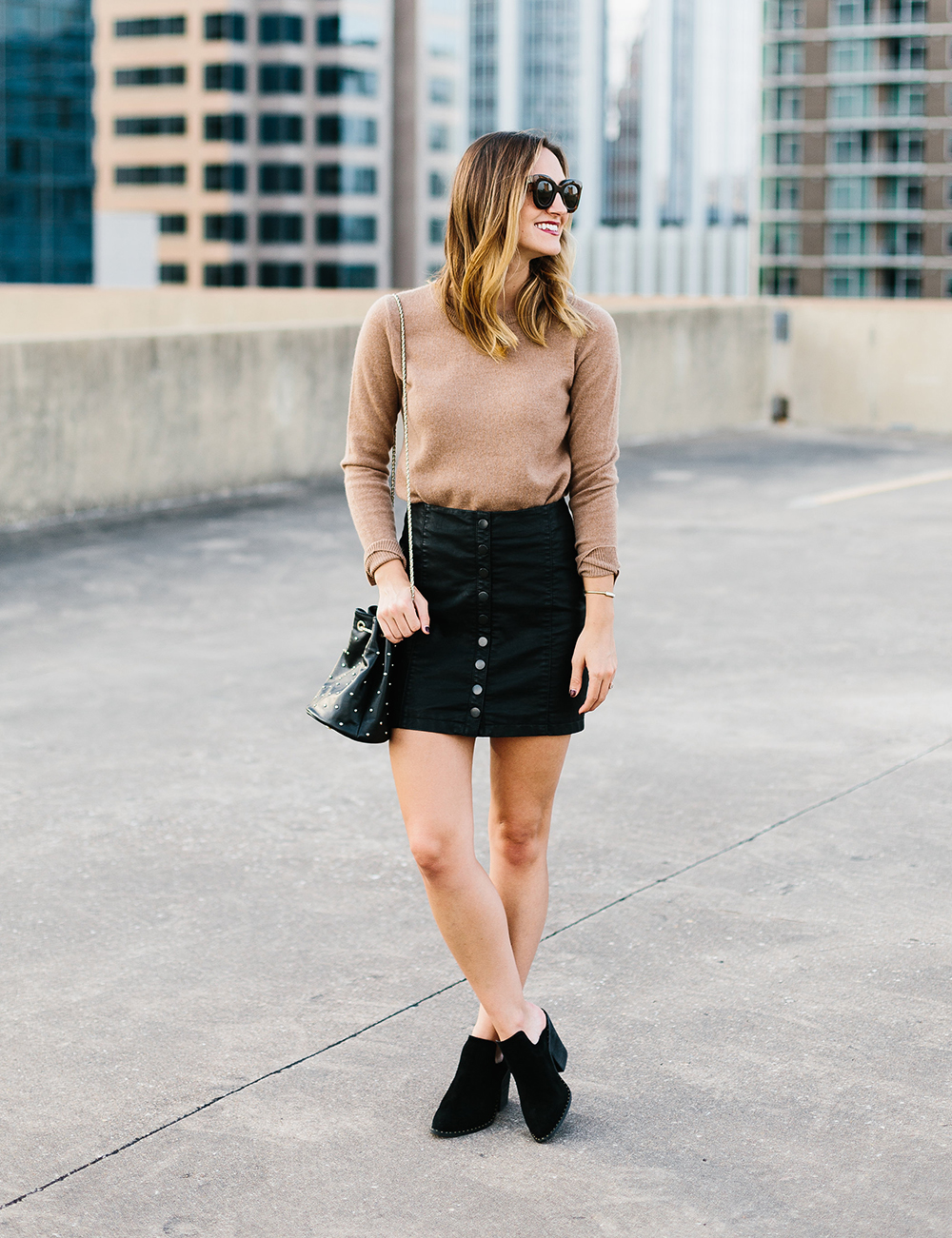 livvyland-blog-olivia-watson-free-people-vegan-leather-mini-skirt-cashmere-tan-sweater-sezane-studded-bucket-bag-2