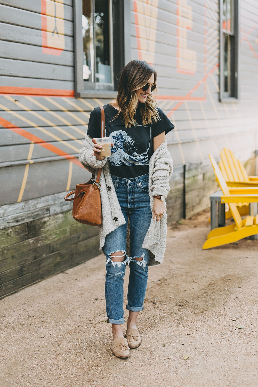livvyland-blog-olivia-watson-toms-coffee-austin-texas-fashion-blogger-casual-fall-weekend-outfit-boucle-knit-cardigan-urban-outfitters-the-great-wave-art-6