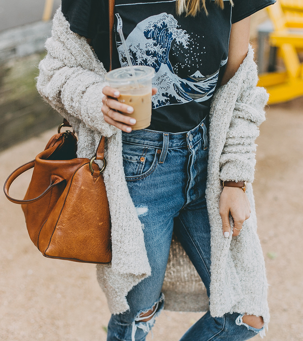 livvyland-blog-olivia-watson-toms-coffee-austin-texas-fashion-blogger-casual-fall-weekend-outfit-boucle-knit-cardigan-urban-outfitters-the-great-wave-art-7