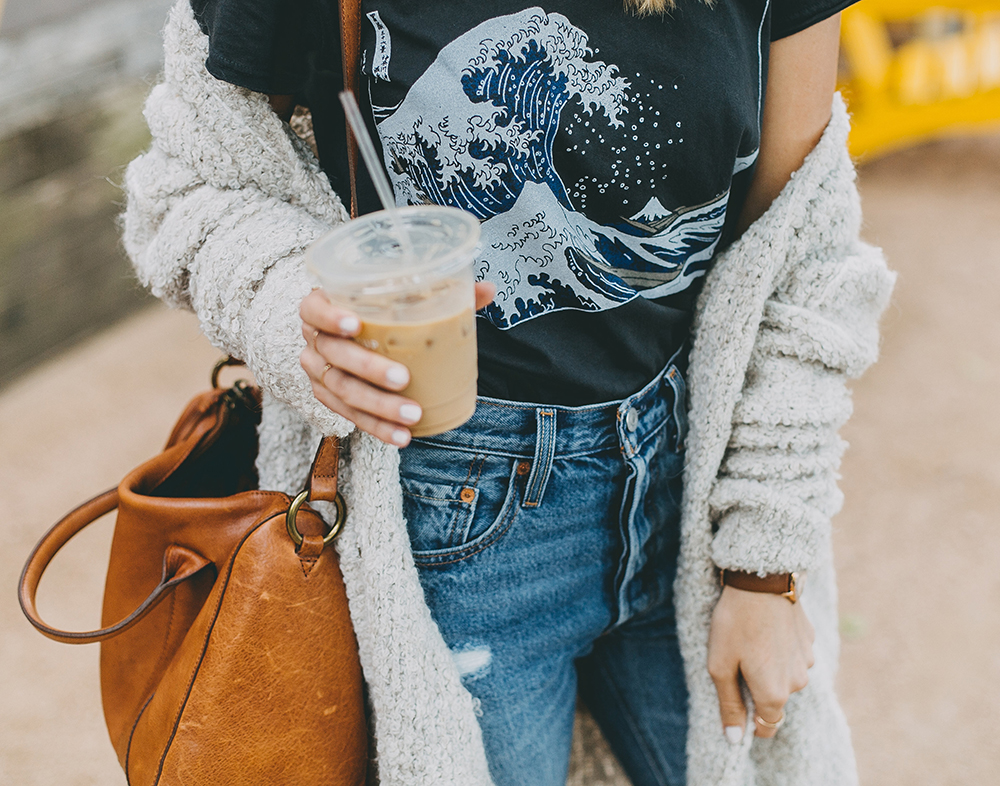 livvyland-blog-olivia-watson-toms-coffee-austin-texas-fashion-blogger-casual-fall-weekend-outfit-boucle-knit-cardigan-urban-outfitters-the-great-wave-art-9