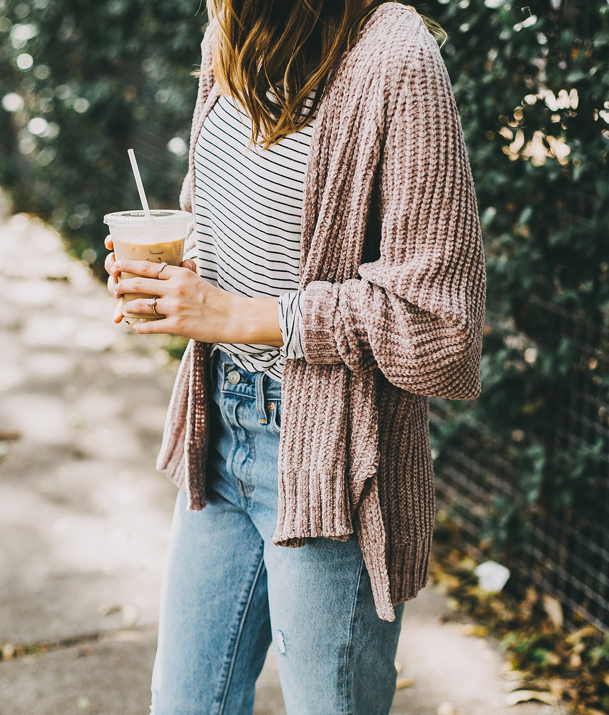 livvyland-blog-olivia-watson-barton-springs-road-chenille-blush-cardigan-stripes-fall-layers-coffee-date-outfit-idea-6