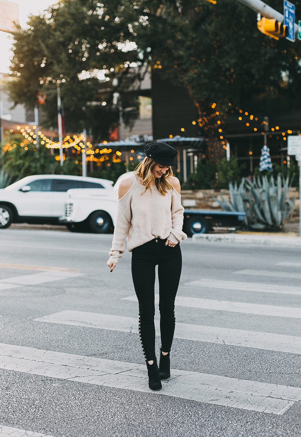 livvyland-blog-olivia-watson-7-brand-black-jeans-sanctuary-cold-shoulder-sweater-baker-boy-hat-4