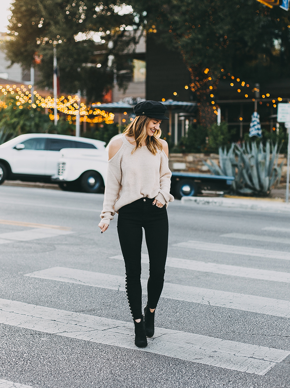 livvyland-blog-olivia-watson-7-brand-black-jeans-sanctuary-cold-shoulder-sweater-baker-boy-hat-5