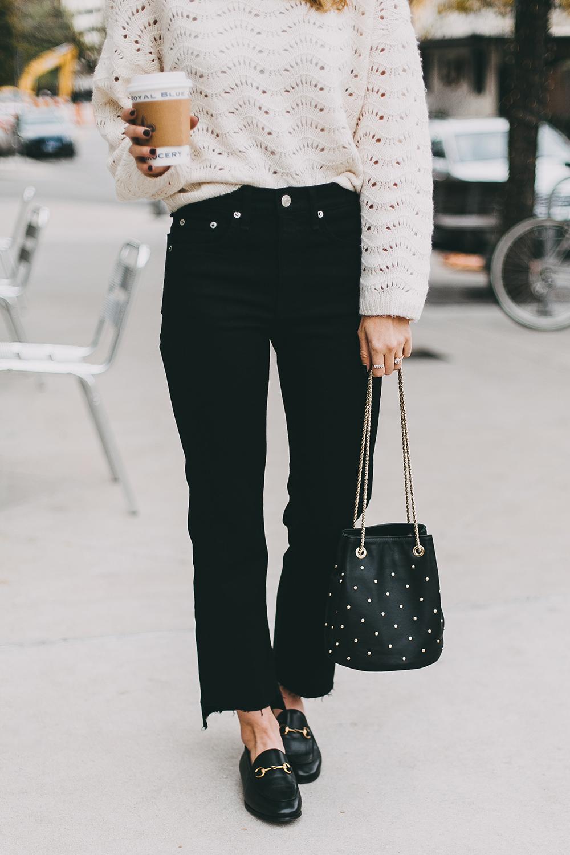 livvyland-blog-olivia-watson-austin-texas-fashion-blogger-white-knit-sweater-rag-bone-crop-flare-black-jeans-gucci-loafers-3
