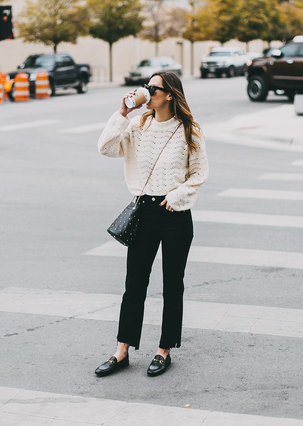 livvyland-blog-olivia-watson-austin-texas-fashion-blogger-white-knit-sweater-rag-bone-crop-flare-black-jeans-gucci-loafers-7