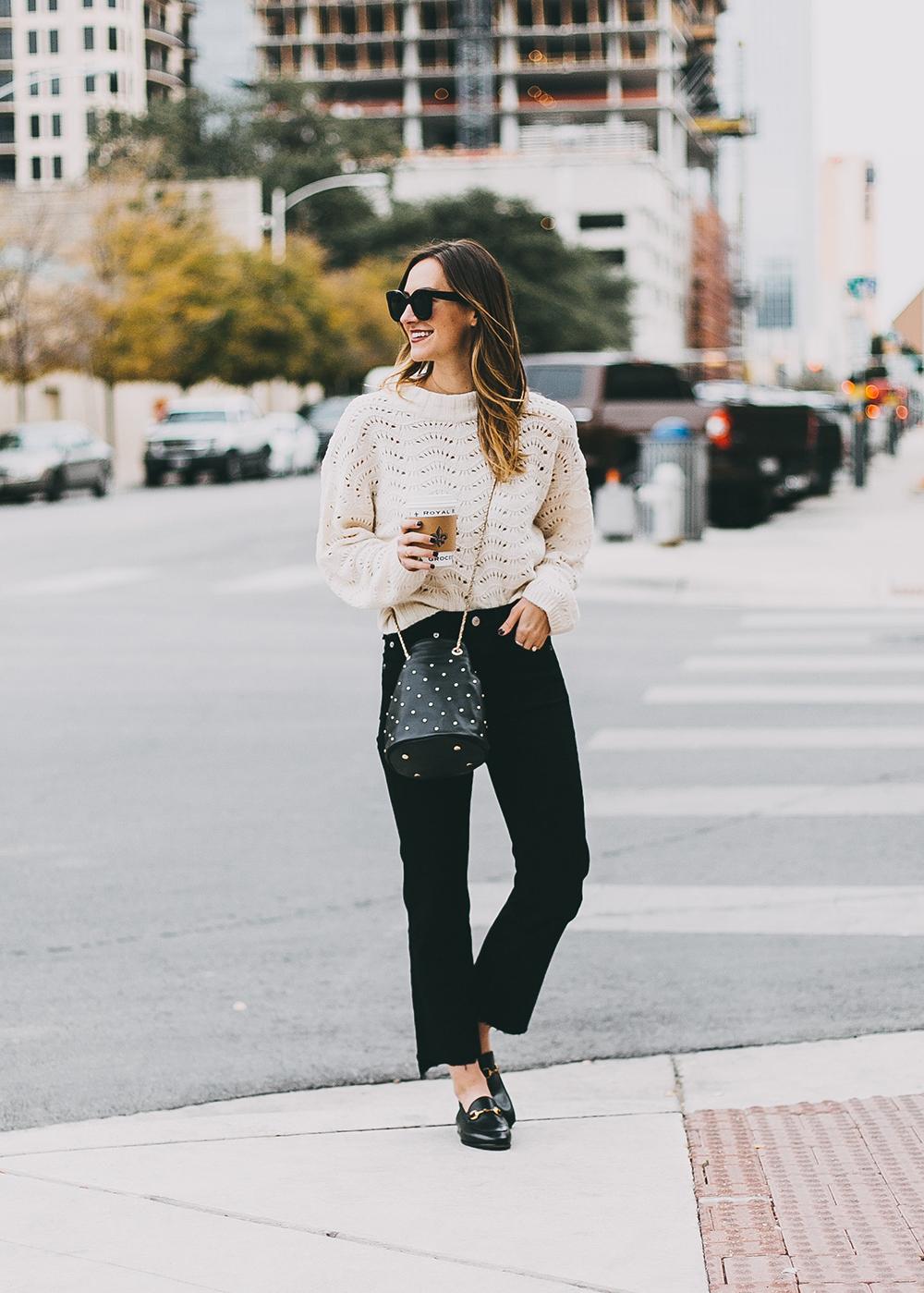 livvyland-blog-olivia-watson-austin-texas-fashion-blogger-white-knit-sweater-rag-bone-crop-flare-black-jeans-gucci-loafers-8