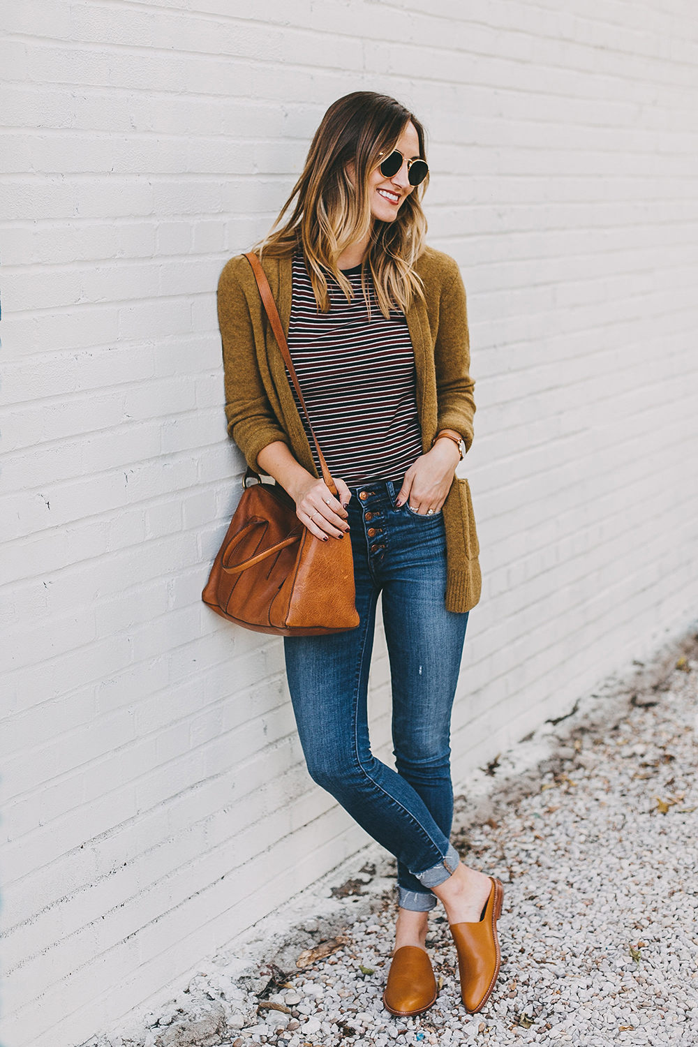 livvyland-blog-olivia-watson-austin-texas-fashion-lifestyle-blogger-madewell-grandpa-cardigan-button-up-high-rise-skinny-jeans-tan-leather-slides-fall-outfit-style-idea-1