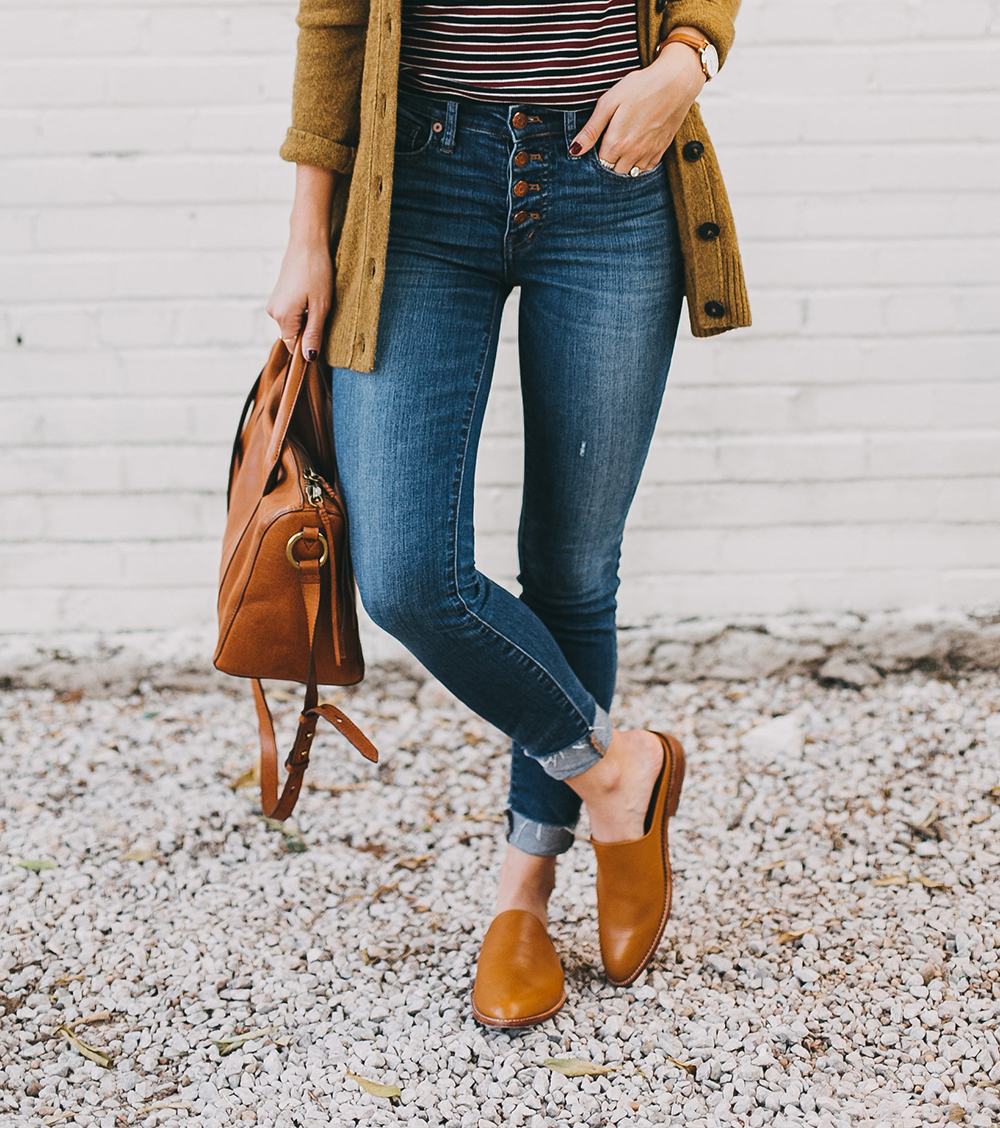 livvyland-blog-olivia-watson-austin-texas-fashion-lifestyle-blogger-madewell-grandpa-cardigan-button-up-high-rise-skinny-jeans-tan-leather-slides-fall-outfit-style-idea-2