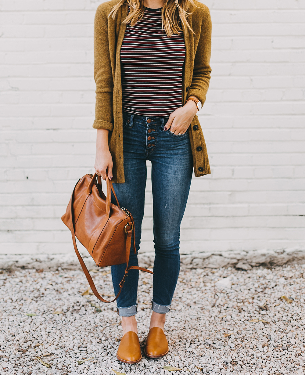 livvyland-blog-olivia-watson-austin-texas-fashion-lifestyle-blogger-madewell-grandpa-cardigan-button-up-high-rise-skinny-jeans-tan-leather-slides-fall-outfit-style-idea-3