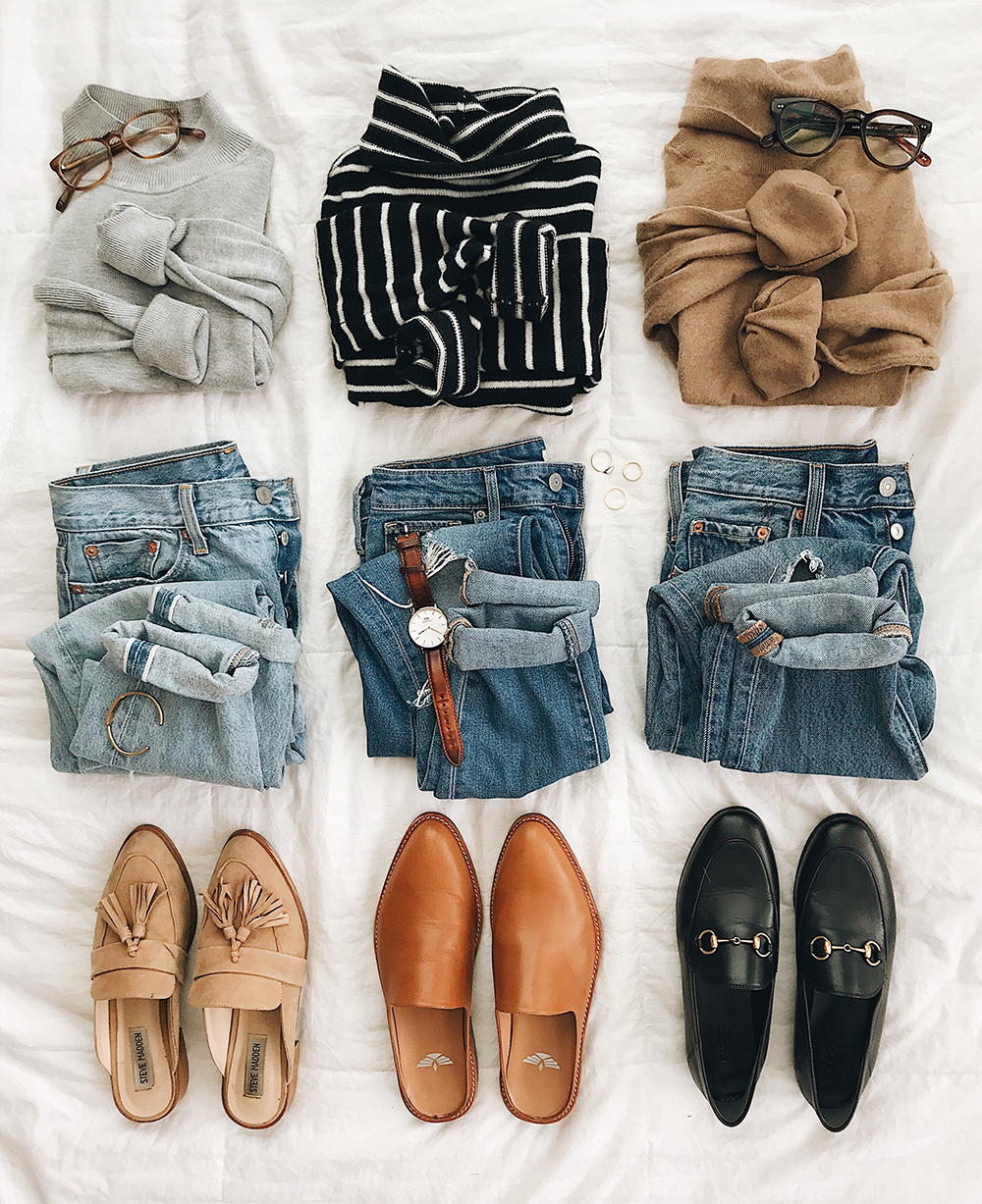 livvyland-blog-olivia-watson-flat-lay-outfit-post-levis-denim-high-rise-jeans-gucci-loafers-slides