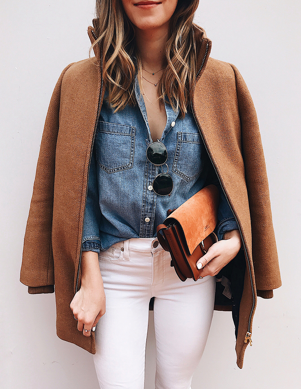livvyland-blog-olivia-watson-j-crew-camel-coat-chambray-shirt-white-denim-jeans-outfit