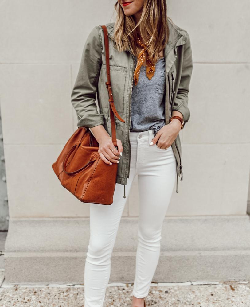 livvyland-blog-olivia-watson-madewell-fleet-utility-jacket-white-jeans-neckerchief-scarf