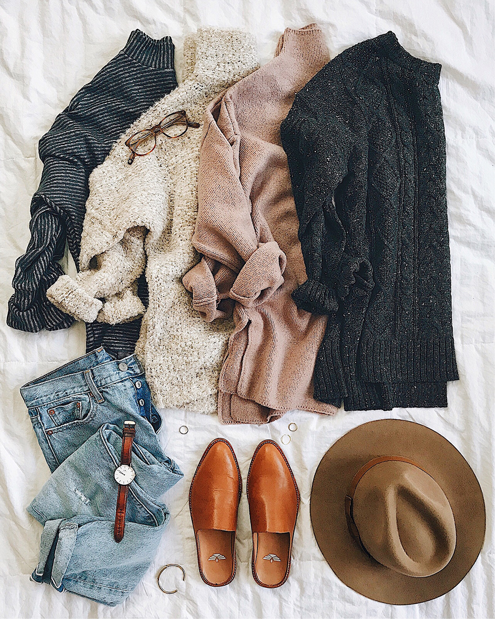 livvyland-blog-olivia-watson-sweater-flatlay-tan-slides-fall-winter-layers